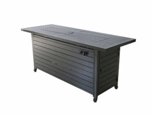 LEGACY HEATING Bronze Aluminium Rectangular Gas Fire Pit Table with Stainless Steel Burner and Table Lid