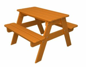 POLYWOOD Outdoor Furniture Kid Picnic Table, Tangerine-Recycled Plastic Materials
