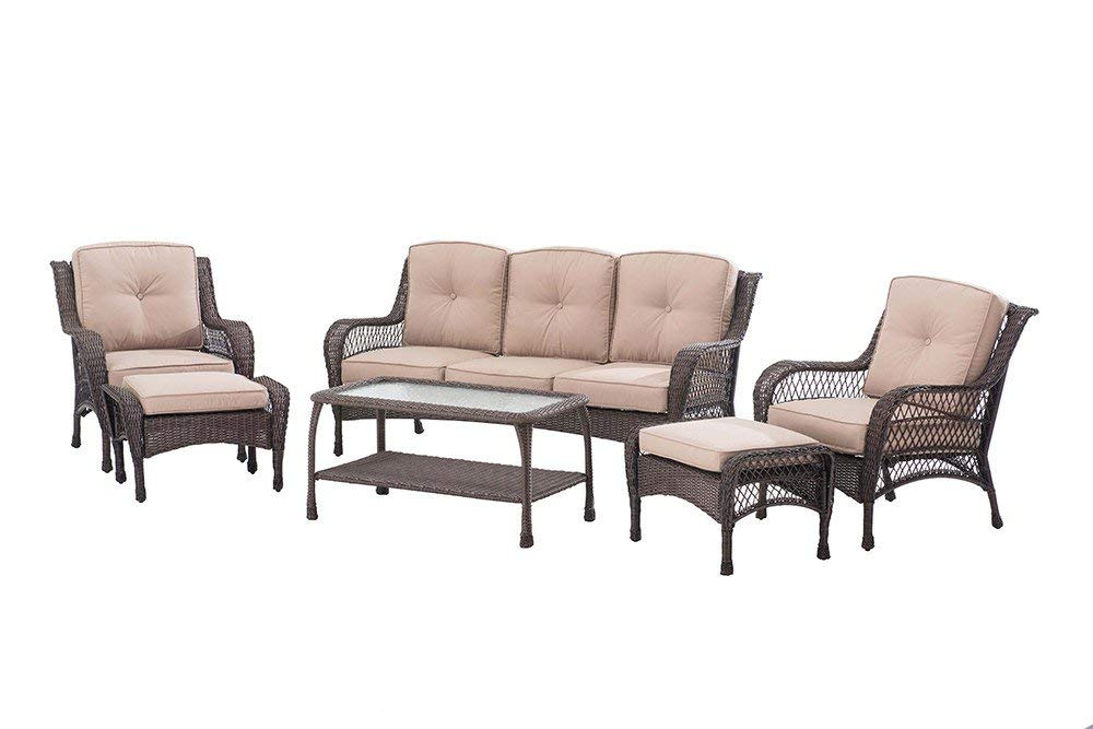 Sunjoy 6 Piece Adam Deep Wicker Seating Set with cushion, Brown