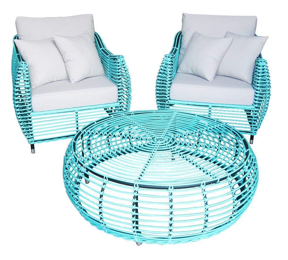 Sunjoy Bergamo Outdoor Settee Armchair with Coffee Table