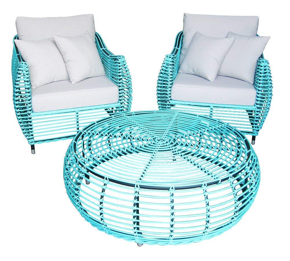Sunjoy Bergamo Outdoor Settee Armchair with Coffee Table